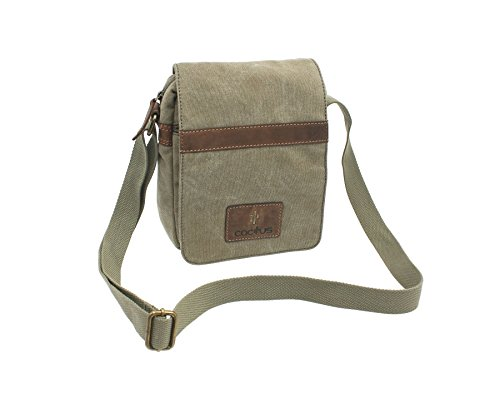 CACTUS Leinwand und Distressed Fettleder Messenger Bag CM816_81 Khaki