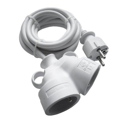 Zenitech - Prolongateur Bi Tête 3G1,5 mm Blanc 3m - 1 Prise Mâle + 2 Prises Femelle