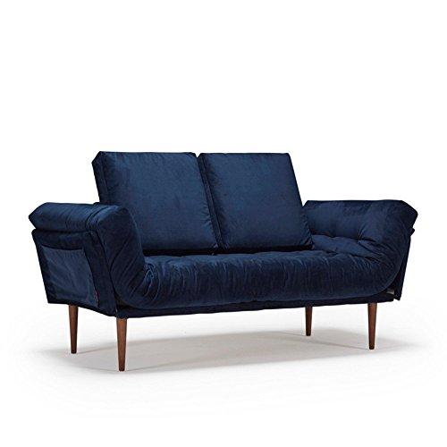 Innovation Live Sofa, Design Rollo Styleto, Schlafsofa, 200 x 80 cm, Untergestell Eiche blau, Velvet Dark Blue
