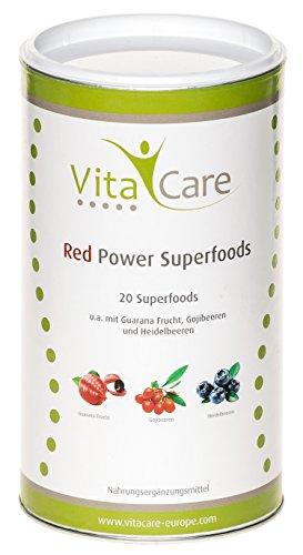 Smoothie-Pulver für echte Superfood Smoothies Red | 360 Gramm | Mischung eignet sich zum Abnehmen • mit Vitalstoffe & Multivitamin | Glutenfrei • Vegan • Zuckerfrei | Vitacare (Heidelbeere Formeln)