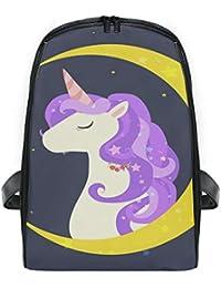 DEZIRO - Mochila Infantil con diseño de Unicornio y Luna Creciente