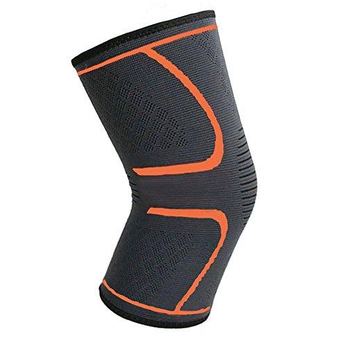 Kniebandage, Unterstützung, Kompression, rutschfest, bei Gelenkschmerzen und Arthritis, Verletzungserholung, verbesserte Blutzirkulation beim Laufen, Skifahren, Radfahren, Joggen, Walken etc., einzelne Bandage, Orange/S(11.8