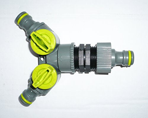 Clipser Répartiteur 3 voies pour tuyau d'arrosage avec 2 robinets en ligne ON/OFF