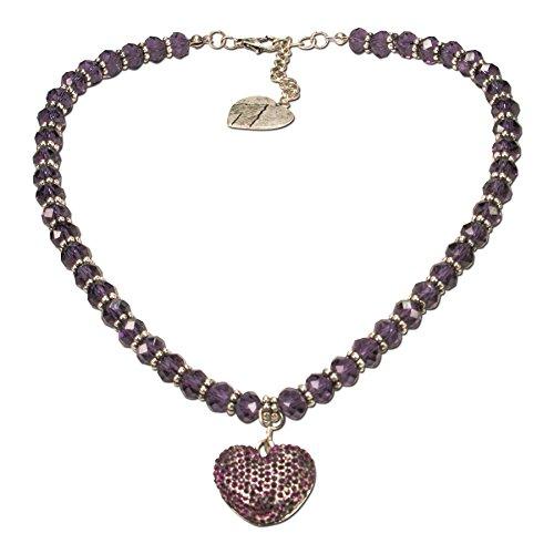 Alpenflüstern Perlen-Trachtenkette Glitzerzauber Trachten-Herz - Damen-Trachtenschmuck Strassherz Dirndlkette lila-violett DHK145