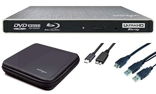 Archgon Star Externer 4K-UHD Player, Blu-ray BDXL Brenner für PC USB 3.0 USB-C, M-Disk, Tray Load disc Drive, Schutzbox, Alu Silber
