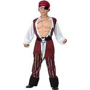 Reír Y Confeti - Fiapir007 - Disfraces para Niños - Traje de Pirata Deluxe muscular - Boy - Talla S