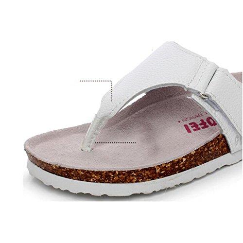 Estate Sandali Pantofole in sughero femminile estivo Pattini antisdrucciolevoli piatti Scarpe da spiaggia delle coppie (Nero / Bianco) Colore / formato facoltativo Bianca