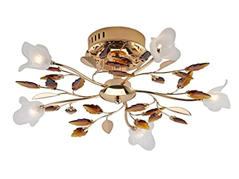 Stylish Metal 5Light Ceiling Fitting Antique Brass