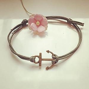 Anker Armband in Olivgrün Bronze Größenverstellbar, anchor / maritim / vintage / ethno / hippie / must have / statement / florabella schmuck