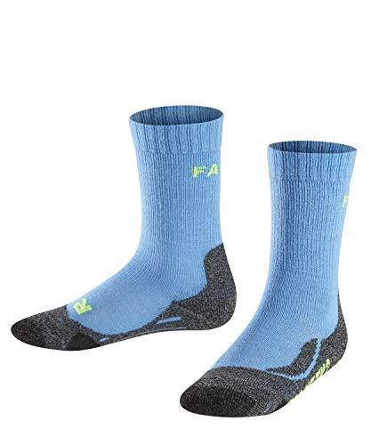 Wolle Knie Hohe Socken (FALKE TK2 Kinder Trekkingsocken - 1 Paar - Merinowolle-Mix, Wandersocken mit mittelstarker Polsterung; Gr. 35-38, blau, Sportsocken Jungen Mädchen)
