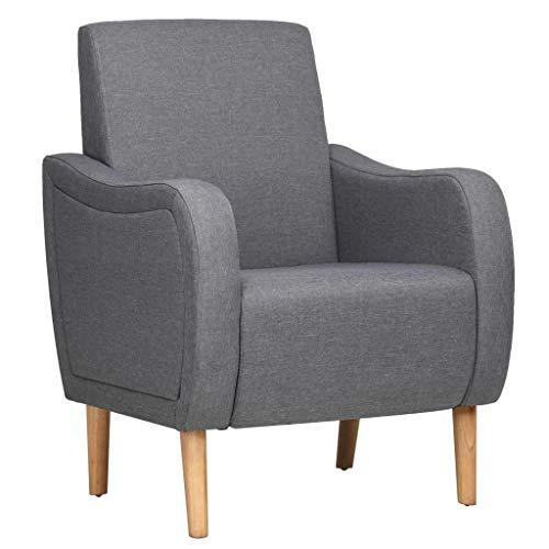 Vidaxl poltrona da salotto in stoffa retrò comoda grigio sedia con braccioli