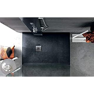 Slate Textured Finish Stone Resin Anti-Slip Shower Tray 1200 x 800 x 30mm Anthracite