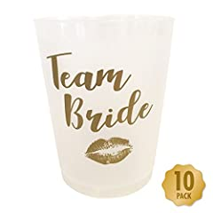 Idea Regalo - Funny Party Stuff - Bicchieri per addio al nubilato 'Team Bride' –Confezione da 10,bianco e oro