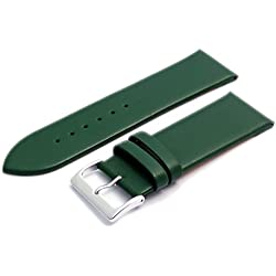 Fine Calf Leather Watch Strap Band 30mm Green with Chrome (Silver Colour) Buckle. Free Spring Bars (Watch Pins)