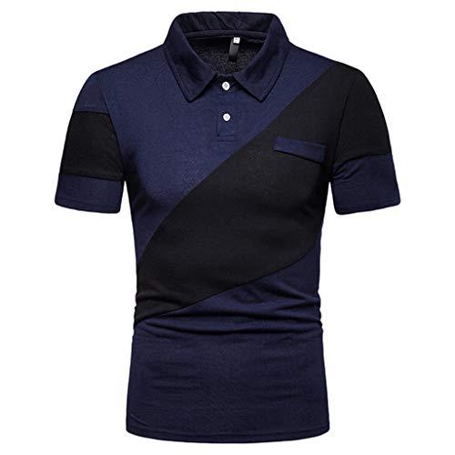 ODRD Herren T-Shirts Frühling Sommer Modische Herren zweifarbige Nähte Lässige High-Grade Revers Shirt mit Shorts Lässige Bluse Top...