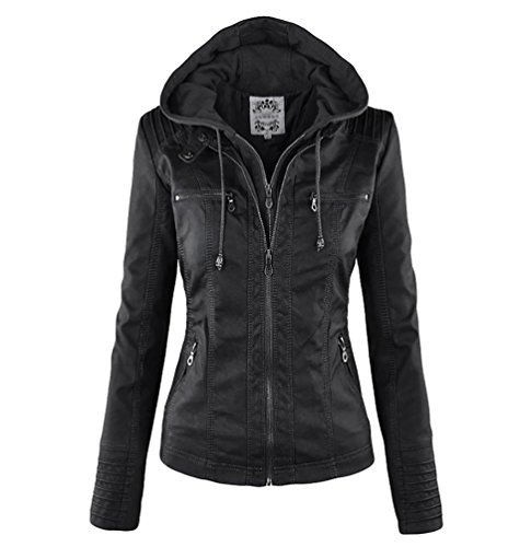outlet store 1f6ee 798cd NiSeng Donna Giubbotto di Pelle Slim Chiodo Giacca Pelle Biker Giacchetto  Giacca in Pelle Moto Nero M