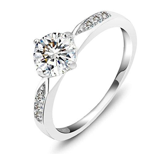 Daesar SilberHochzeits-Ring Frauen Runde Schneiden Zirkonia Ring Liebe Ring Silber Größe:54 (17.2)