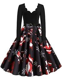 Damen Weihnachten Kleider Langarm Pullover Kleid Weihnachtskleider Cocktailkleid Druck Kleid Blumenspitze A-Line Elegantes Festlich Kleid Vintage Hepburn Kleid