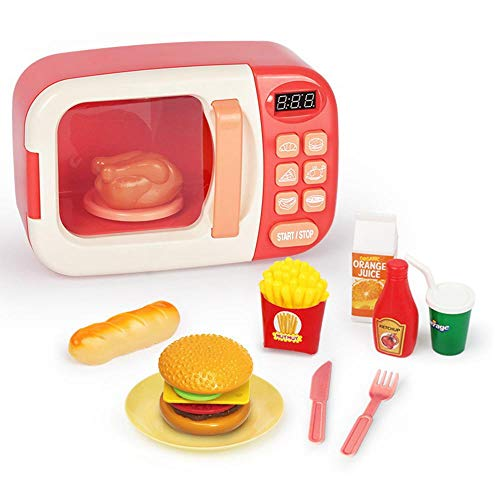 Ceepko Mikrowelle Spielzeug, Küche Kochen Simulation Rolle Rollenspiel Falsches Essen, mit Lichtern und Geräuschen für Kinder Kleinkinder Jungen Mädchen Geburtstag