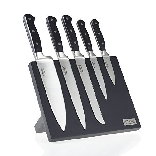 Ross Henery Professional Premium Stainless Steel Kitchen Knife Set on a Stylish, Black Magnetic Block with 2-year warranty, 5-Piece
