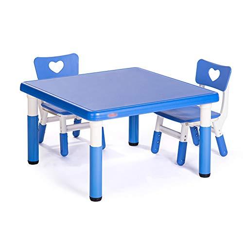 GYiYi Einstellbare Kinder Tisch Und 2 Stühle, Kunststoff Quadratischen Tisch (80 * 80cm) Kleinkinder Lernen, Spielzeug, Spiele, Zeichentische