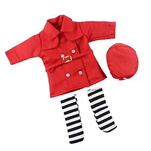 Sharplace Puppekleidung Krankenschwester Uniform Anzug für 14 Zoll Mädchen Puppen - Rot (Mädchen Dress Doktor Up)