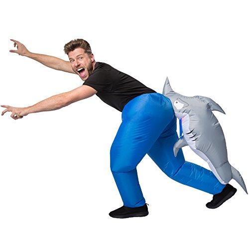 TecTake dressforfun Selbstaufblasbares Unisex Kostüm Hai | Batteriebetrieben -