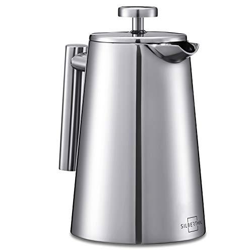 SILBERTHAL French Press Edelstahl Kaffeebereiter – Doppelwandig Thermo-isolierte Kaffeepresse 0,7l – Spülmaschinenfest – für 4-6 Tassen leckeren Kaffee