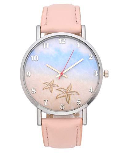 (MANIFO Armbanduhr Quarzuhr Damen Uhren Frauen Cute Strand Seesterne Muster Uhr Analog mit PU Lederarmband für Sommer Reise Casual Stil (Pink))