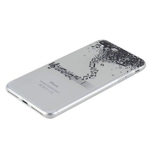 Per iPhone 7 Plus 5.5 Custodia morbido,Herzzer Mode Crystal Creativo Elegante fiori [Fuck]Quadro Dipinto Design trasparente case cover,Protettivo Skin in Liscio Smooth Toccare Unico Molto sottile Mod Note musicali
