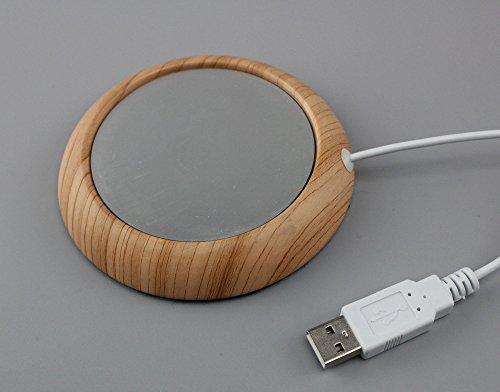 USB Mug warmer Coffee Tea Cup Warmer (Light Wood) Test
