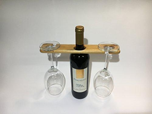Mahagoni Wein Hat, Halterung für Weinflasche und 2 Gläser (Mahagoni Echte)