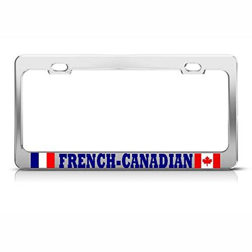 Französische Kanadische Flaggen Metall Chrom Kennzeichenrahmen Kanada-France Tag Bordüre Perfekt für Männer Frauen Auto Garadge Dekor -