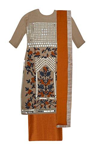 Ethnic Story Women's Kota Cotton Semi-stiched Salwar Suit (Cream)