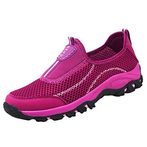 Fenverk Herren Damen Sportschuhe Laufschuhe Bequem Atmungsaktives Turnschuhe Sneakers Gym Fitness Leichte Schuhe Air Atmungsaktiv SchnüRer StoßFest Mode Outdoor Athletisch Sneaker(Hot Pink,40 EU) -