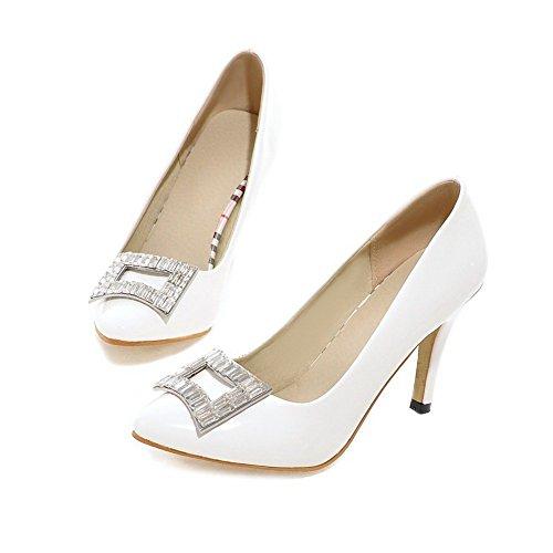 Adee Mesdames strass spikes-stilettos polyuréthane Pompes Chaussures Blanc - blanc