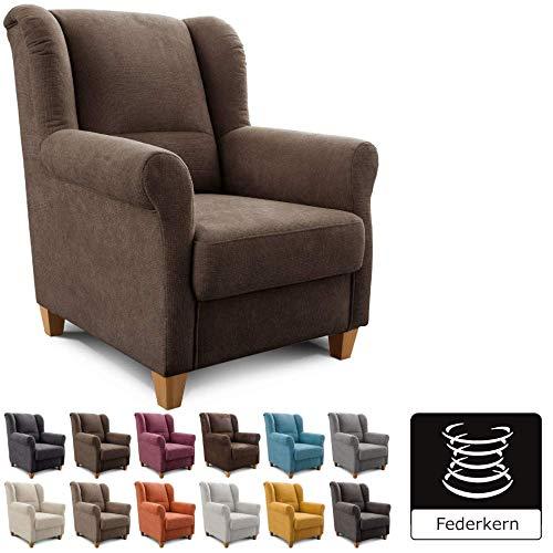 Cavadore Sessel Finja mit Federkern / Ohrensessel im modernen Landhausstil / passender Hocker separat erhältlich / 87 x 102 x 96 / Webstoff Braun - Espresso Sessel