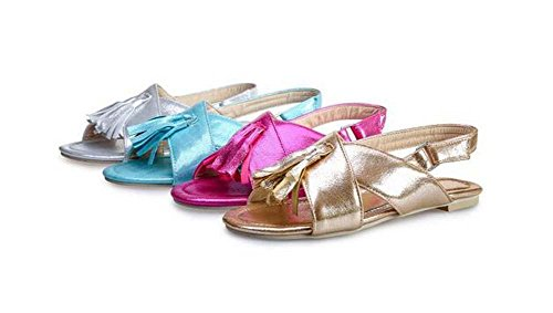Beauqueen Sandales Femmes D'été Tassel Plain Imitation Cuir Femmes Occasionnels Chaussures Spécial Grande Taille Europe 32-48 Silver