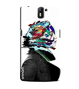 Omnam Black And White Girl With Coloful Hair Printed Designer Back Cover Case For One Plus One