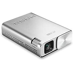 ASUS ZenBeam E1 - Pico Projecteur Mini LED Portable WVGA Silver - 150 lumens - HDMI & MHL - Batterie intégrée 6000 mAh autonomie 5 heures - 854 x 480 - 30 db - Haut-parleurs intégrés - Garantie 2 ans