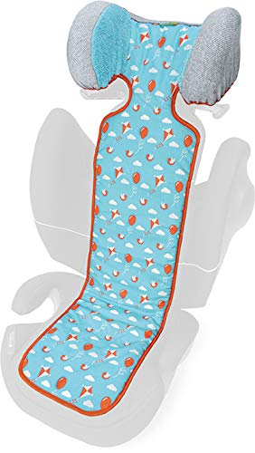 PRIEBES MAX Sitzauflage für Autositz Gruppe 2-3 |Sitzeinlage zum Wenden | Schonbezug Kindersitz 100% Baumwolle | waschbar & atmungsaktiv | einfache Befestigung, Design:ballons aqua (Ballon-befestigungen)
