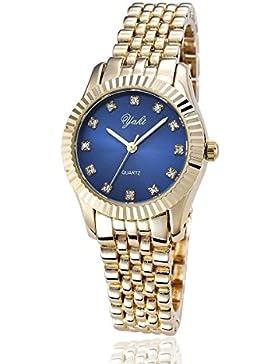 Yaki Damen Rose Gold Mode Uhren Eldestahl Metall-band Blau Zifferblat Quarz-uhr