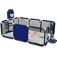 SKY-TOUCH - Large Toddler Babys Playpen for Twin, Foldable Safety with Mat & Basketball Hoop, Extra Tall 66cm,(Color : Blue)-Only bracket, without climbing pad