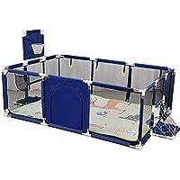 سكاي تاتش - قفص لعب صغير كبير للأطفال الصغار للتوأم، قابل للطي بأمان مع حصيرة وحلقة كرة السلة، طول إضافي 66 سم، (اللون: أزرق)-قوس فقط، بدون وسادة تسلق