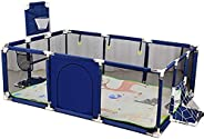 SKY-TOUCH - Large Toddler Babys Playpen for Twin, Foldable Safety with Mat & Basketball Hoop, Extra Tall 6