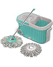 Spotzero by Milton E-Elite Spin Mop with Bigger Wheels and Plastic Auto Fold Handle for 360 Degree Cleaning (Aqua Green, Two Refills)