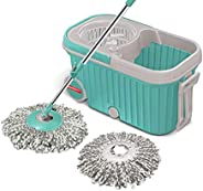 Spotzero by Milton Elite Spin Mop with Bigger Wheels and Plastic Auto Fold Handle for 360 Degree Cleaning (Aqu