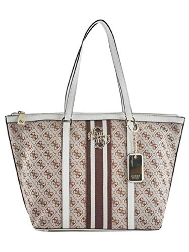 03c5893329 Guess BORSA DONNA MOD. VINTAGE TOTE IN TESSUTO/ECOPELLE COL. BEIGE/WHITE