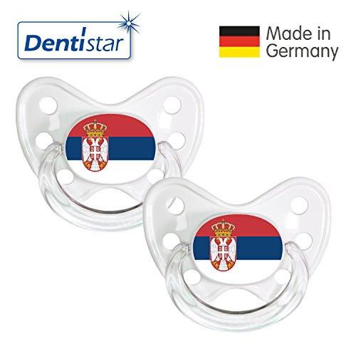 Preisvergleich Produktbild Dentistar® Silikon Schnuller 2er Set inkl. 2 Schutzkappen - Nuckel Größe 3, ab 14 Monate – Fahnen Fan Kollektion – Serbien