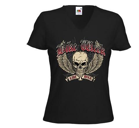 Biker Ladies T-Shirt Bike Week V-Twin Metal Tattoo V8 Gr.L